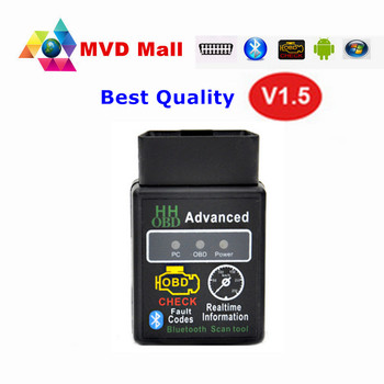 25K80 Čip HH OBD ELM327 Bluetooth V1.5 Android Točivý moment OBDII CAN BUS Check Engine HH ELM 327 OBD2 Adavanced Auto Diagnostický Nástroj